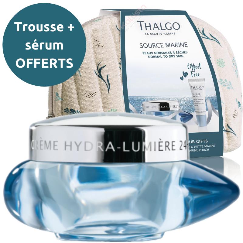 Crème hydra-lumière 24h Thalgo : Ressource, réveille l\'éclat - Source marine