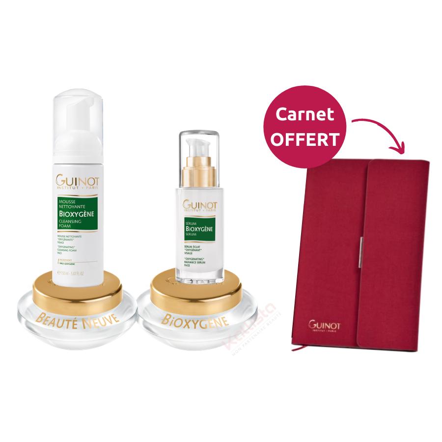 Pack Eclat Guinot : mousse Bioxygène, sérum Bioxygène et crème au choix
