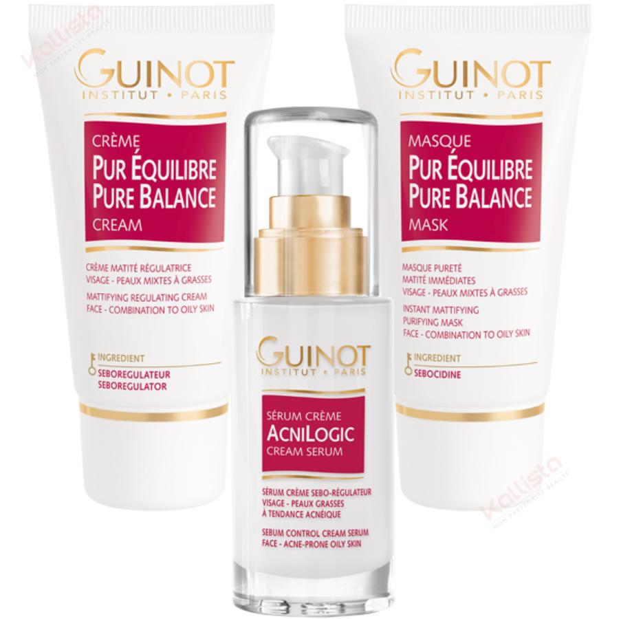 Pack Pureté Guinot Trio de Sérum Acnilogic, Crème et Masque Pur Équilibre