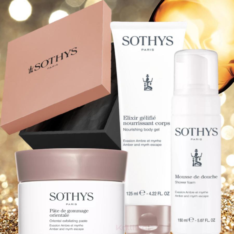 Rituel Corps Sothys - Ambre et Myrrhe - Mousse de douche, Pâte de gommage et Elixir gélifié