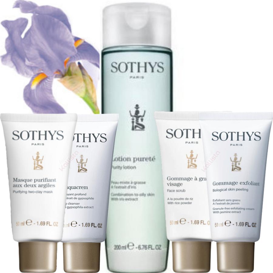 Pack nettoyant Sothys - Peaux mixtes à grasses : masque absorbant, desquacrem, gommage et lotion Pureté