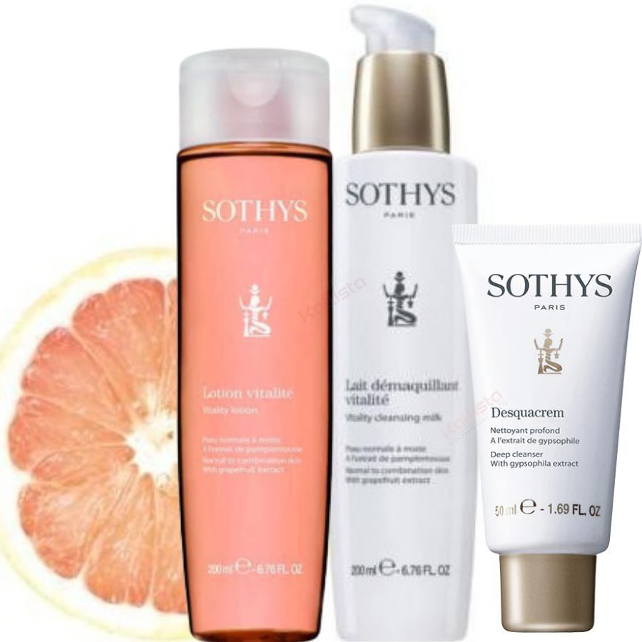 Pack démaquillage Vitalité Sothys - Peau normale à mixte : Lait, lotion et desquacrem