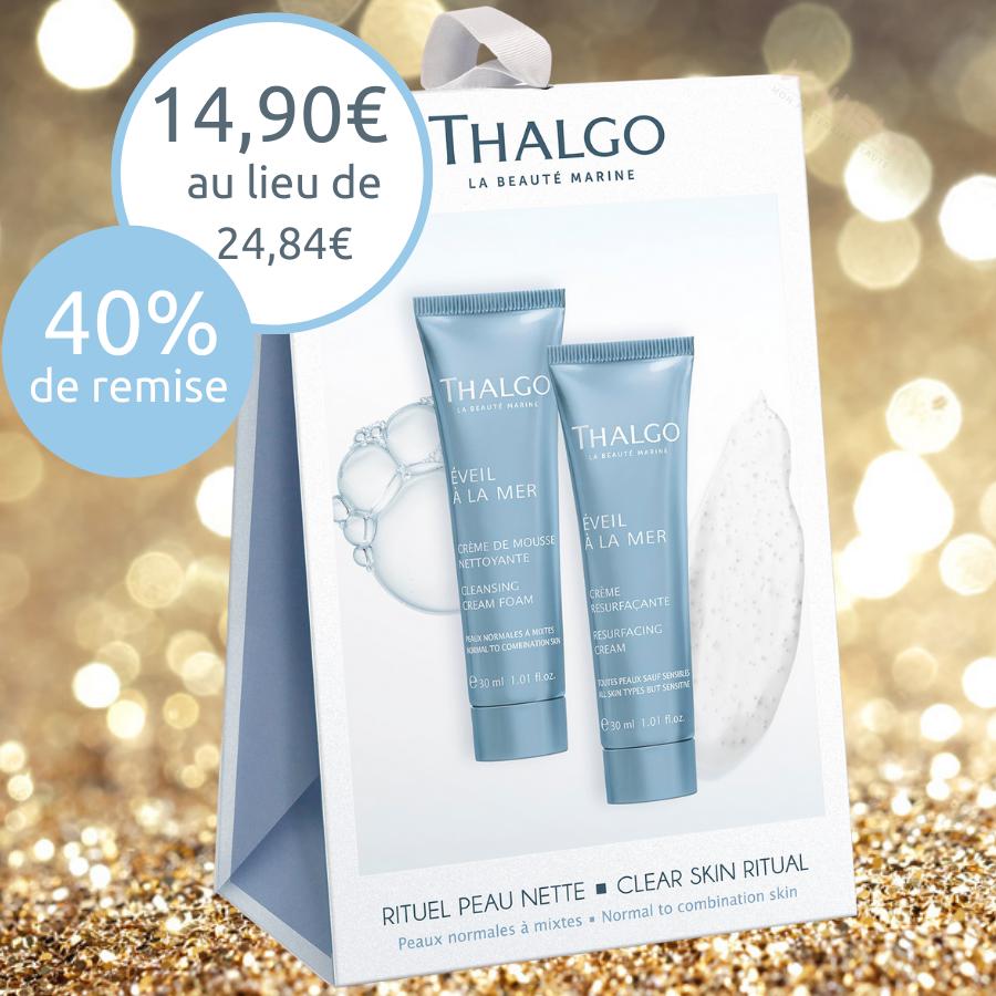 Rituel Peau Nette Thalgo - Peaux normales à mixtes 2x30ml : Mousse nettoyante et Crème resurfaçante