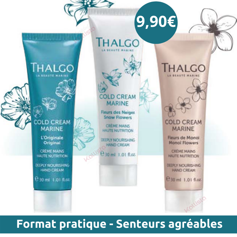 Crème Mains Thalgo 30ml - Cold Cream Marine - 3 Senteurs au choix