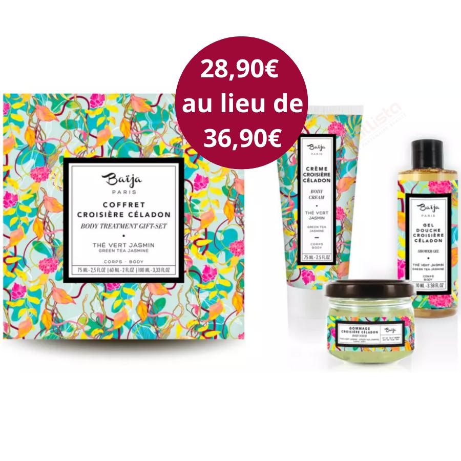 Coffret rituel 3 produits corps Baija - Thé vert et Jasmin - Croisière Céladon