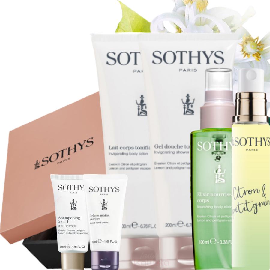 Coffret Prestige Corps Sothys - Citron & Petitgrain - Gel douche, Elixir, Lait, Eau parfumée, Crème mains et Shampoing format voyage