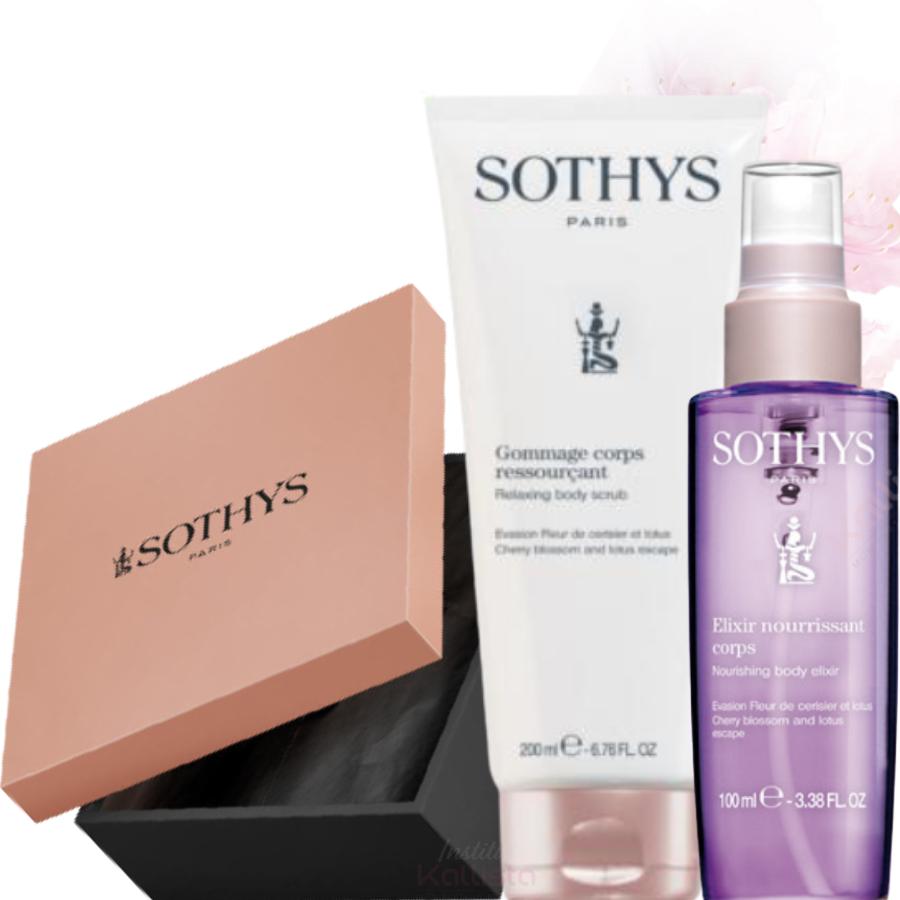 Duo de produits corps Sothys - Fleur de Cerisier & Lotus - Gommage et Élixir hydratant