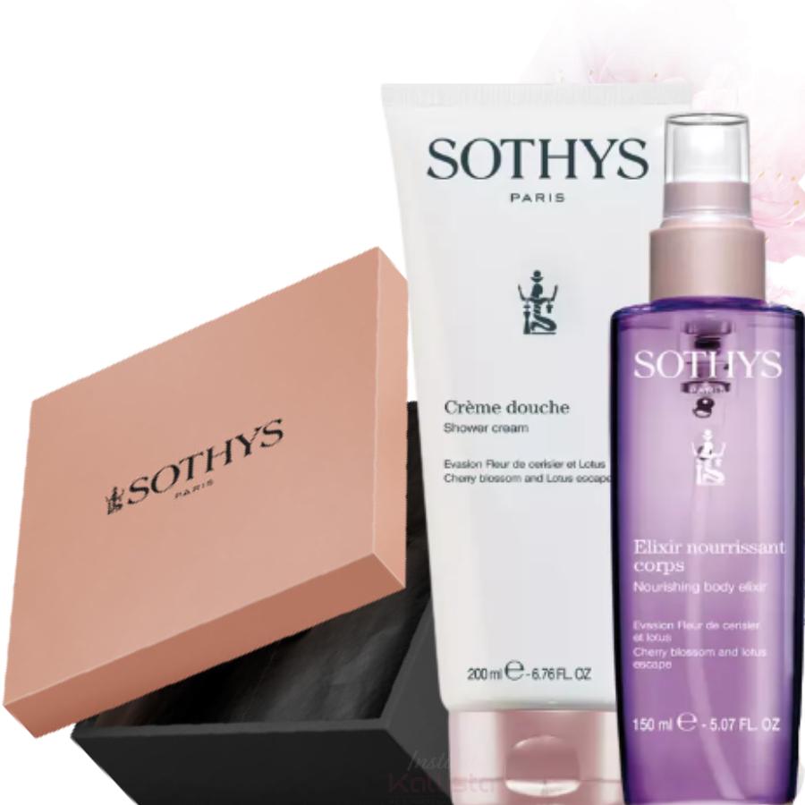Duo de produits corps Sothys - Fleur de Cerisier & Lotus - Crème de douche et Élixir hydratant