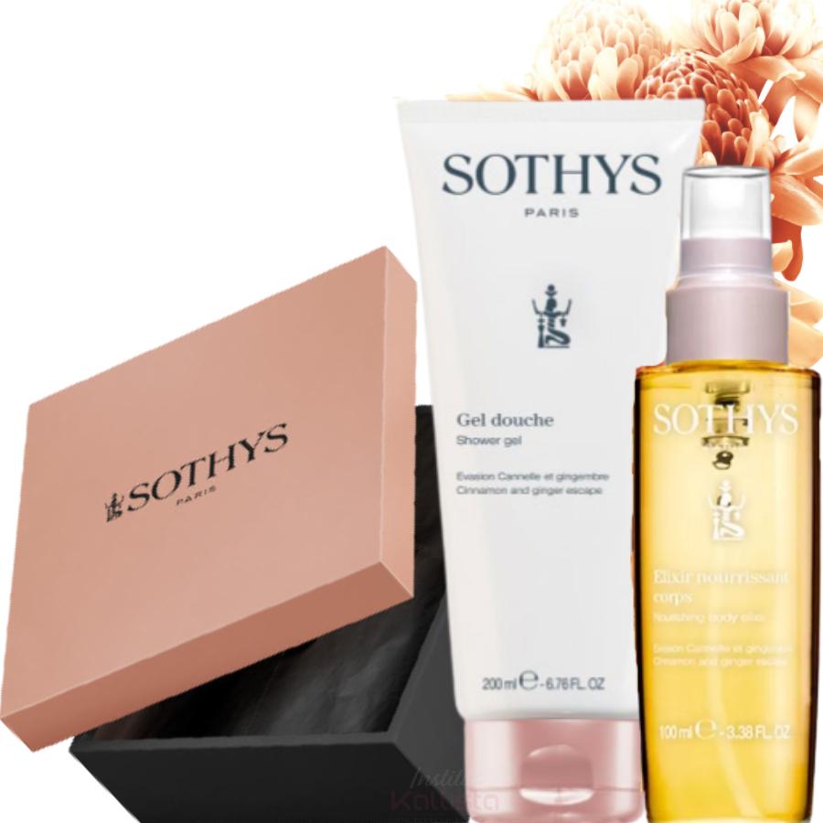 Duo de produits corps Sothys - Cannelle & Gingembre - Crème de douche et Élixir hydratant