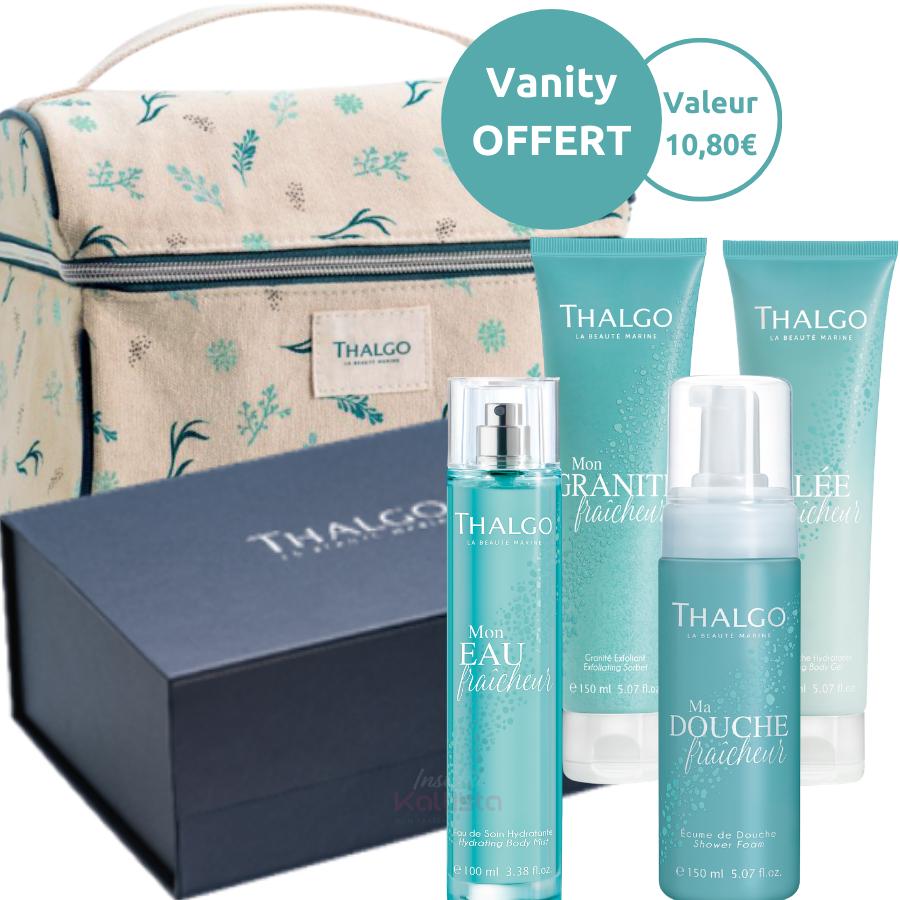 Pack Fraîcheur Thalgo : gelée, douche, eau, granité fraîcheur et un vanity offert