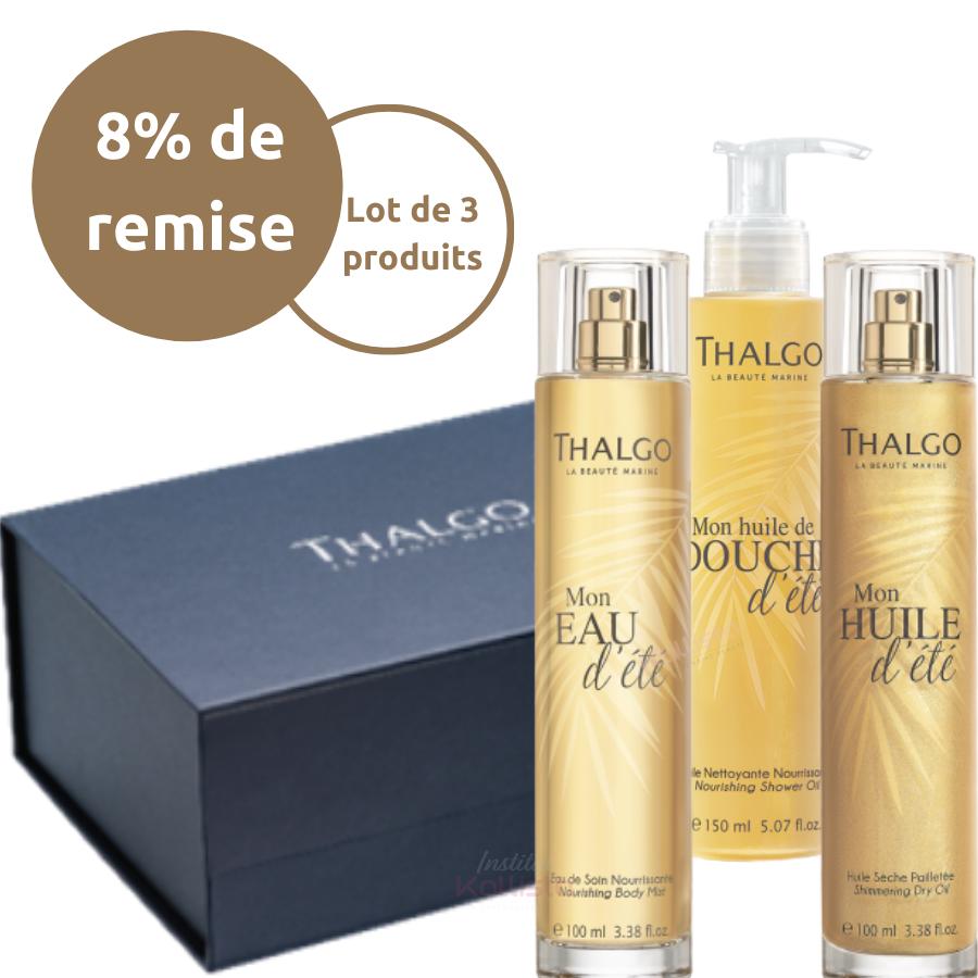 Trio ensoleillé Thalgo : huile de douche, eau parfumante et huile pailletée