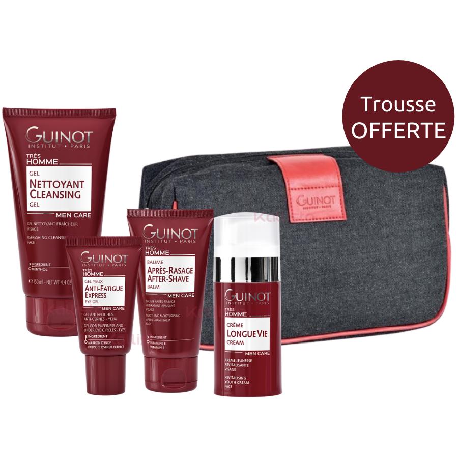 Trio produits Guinot homme : gel nettoyant, gel anti-fatigue et au choix, crème Longue Vie ou baume après-rasage