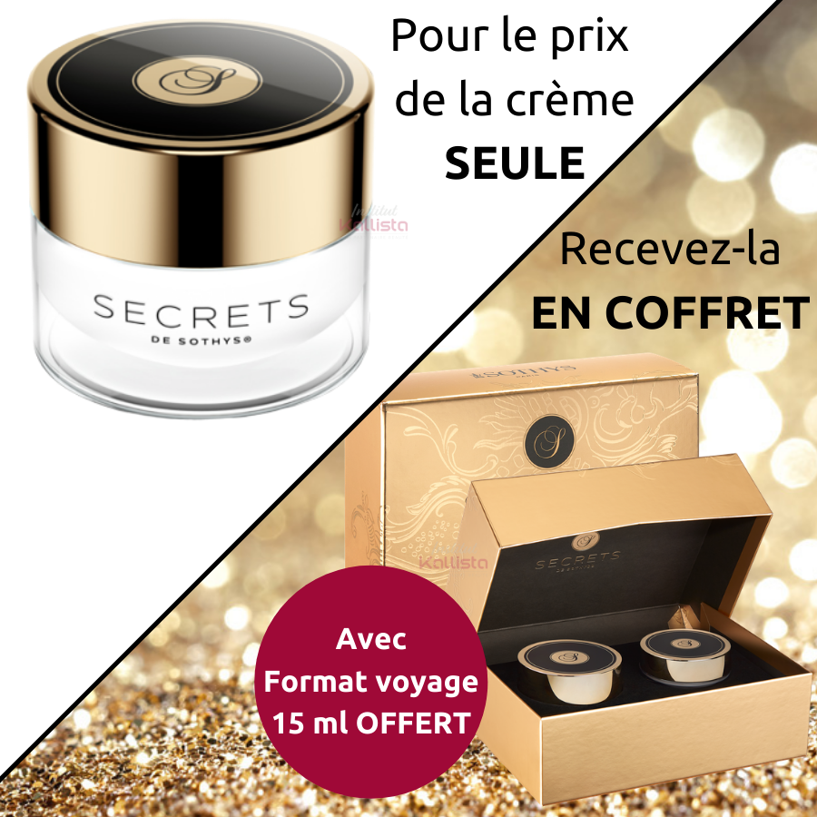 Crème Secrets Sothys - Crème visage premium jeunesse Secrets de Sothys® - OFFRE SPÉCIALE En coffret avec Format Voyage 15ml OFFERT