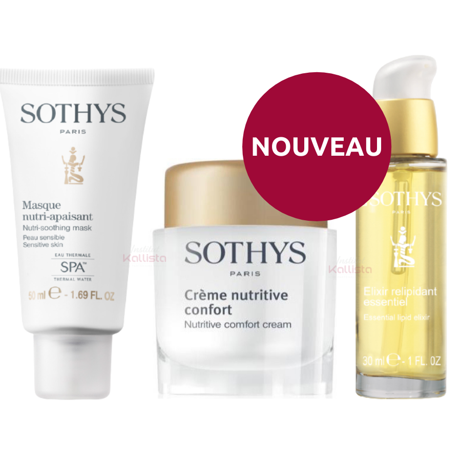 Pack Peau sèche Sothys : Trio Élixir relipidant essentiel, Crème nutritive confort et Masque Nutri-Apaisant