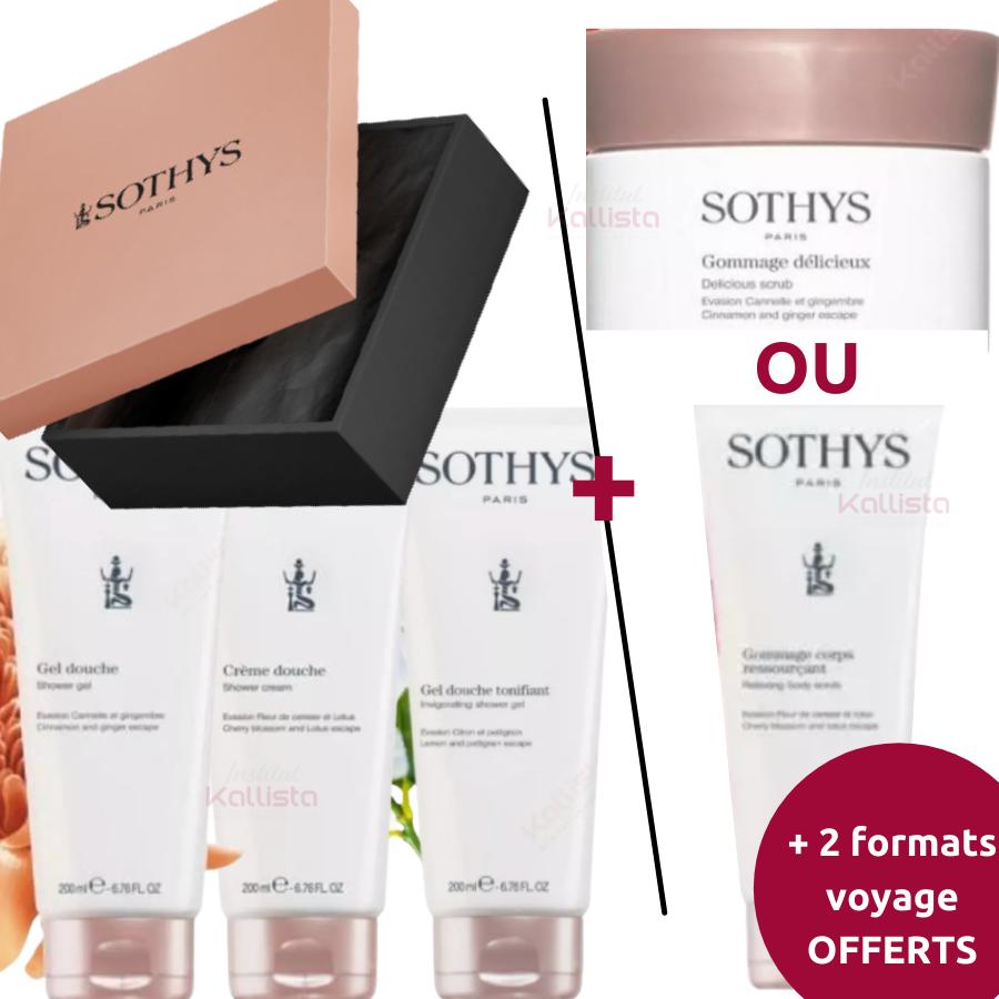 Pack rituel corps de 6 produits Sothys: Trio de Douches + Gommage corps au choix + 2 Formats voyage OFFERTS