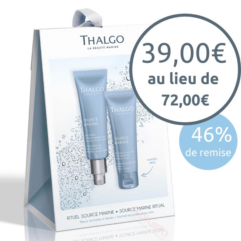 Gel-crème hydra-lumière 24h Thalgo + un masque hydratant en coffret offert - peaux normales à mixtes - Source Marine