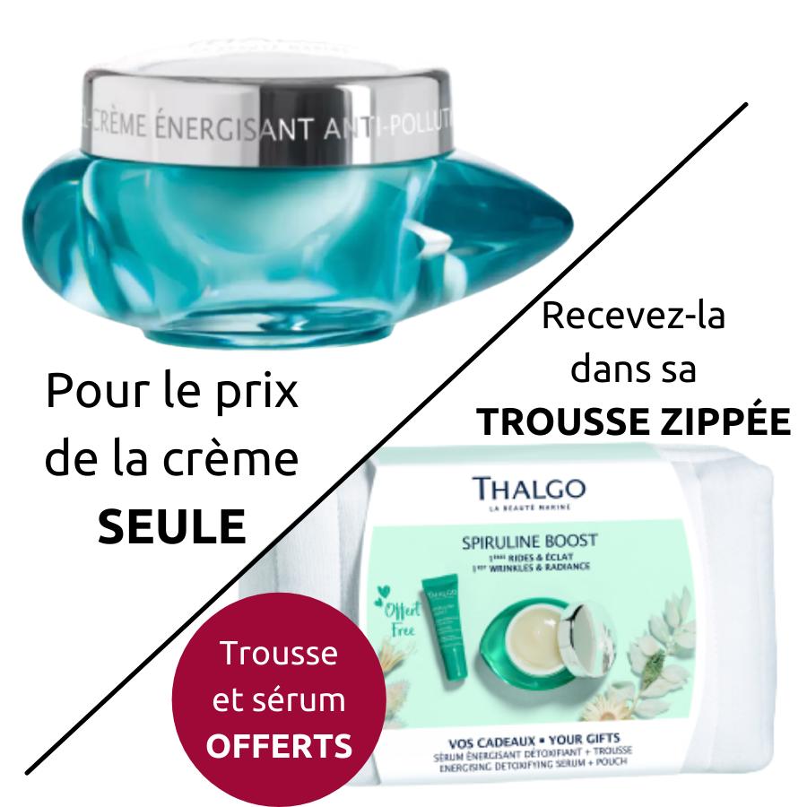 Gel-crème énergisant anti-pollution Thalgo : lisse, ravive l\'éclat - 1ères rides et éclat - Spiruline boost