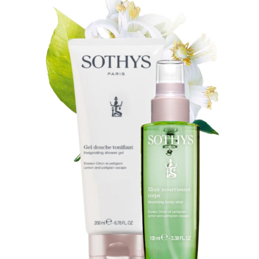 Duo de produits corps Sothys - Citron & Petitgrain - Crème de douche et Élixir hydratant