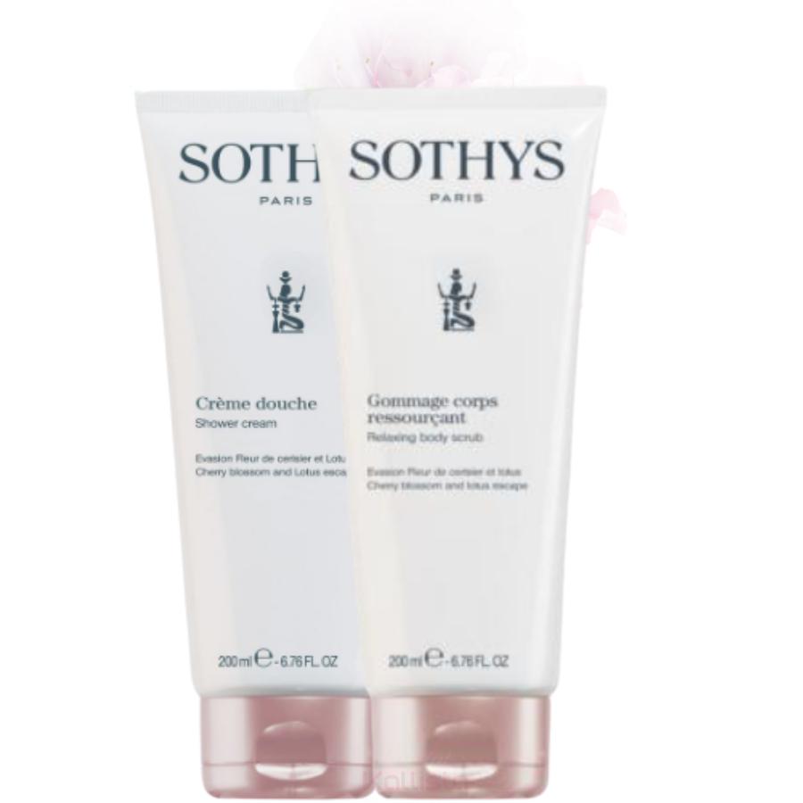 Duo de produits corps Sothys - Fleur de Cerisier & Lotus - Crème de douche et Gommage