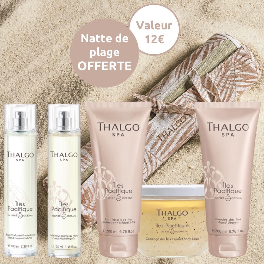 Package 5 produits corps Pacifique Thalgo - Gommage, douche, huile, brume, lait et natte de plage offerte