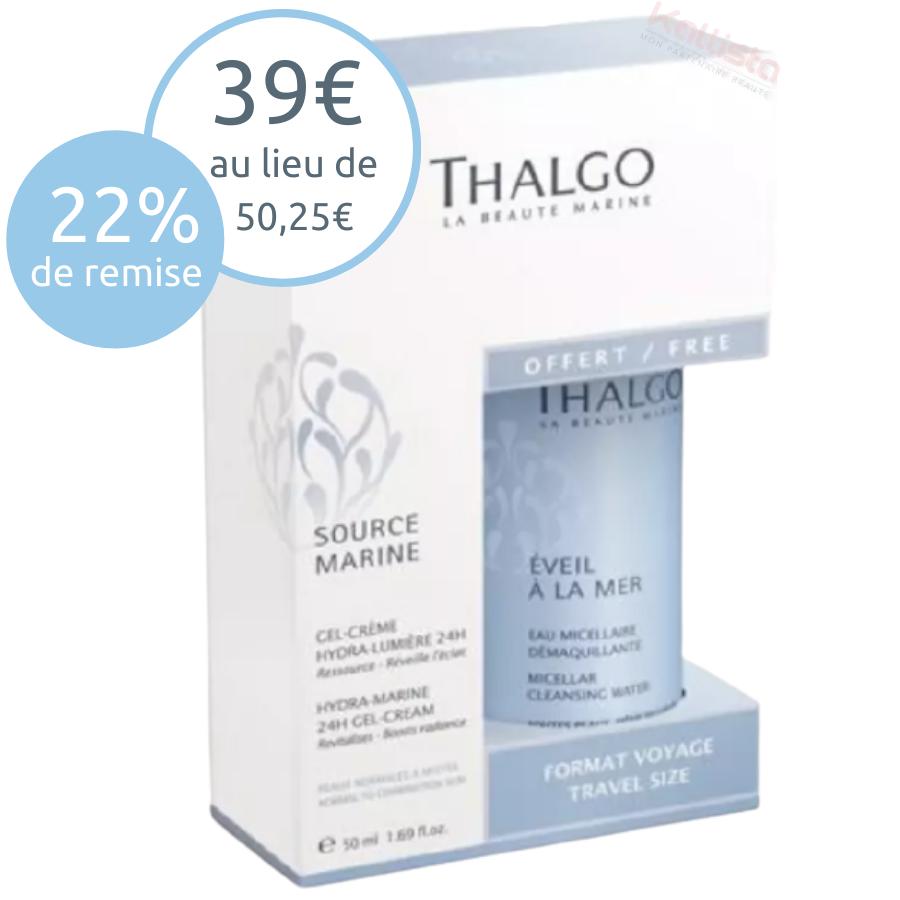 Gel-crème hydra-lumière 24h Thalgo : ressource et réveille l\'éclat, peaux normales à mixtes - Source marine