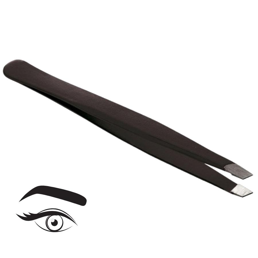 Pince à épiler professionnelle - Noire, biseautée, haute précision