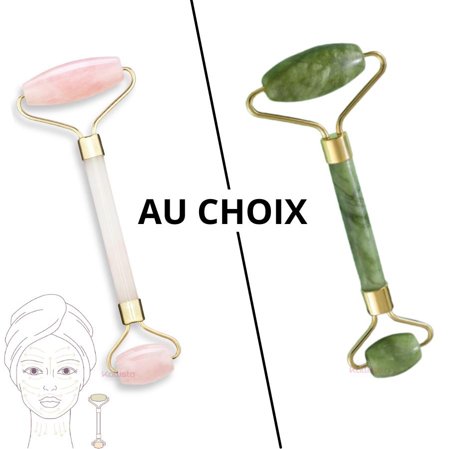 Roll-on double-embout massant - Qualitatif, revitalisant et décongestionnant - 2 pierres au choix, Quartz Rose ou Pierre Verte