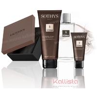 Trio Sothys de produits Homme - Eau de toilette, Gel douche corps et cheveux et Nettoyant doux visage