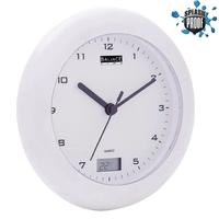 Horloge Thermomètre pour Salle de bains 17 cm Analogiques Blanc