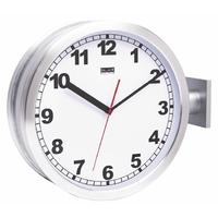 Horloge de gare double 38 cm Analogiques Argent / Blanc