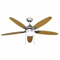 Evila–Ventilateur de plafond 5pales Bois 60W + lumière
