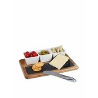 LIVOO MES110 Set apéritif et Fromage 5 pièces, Bois/Noir/Métal