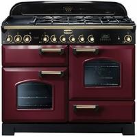 Falcon Classic Deluxe 110 Mixte Airelle Laiton - Falcon Classic Deluxe 110 Mixte - CDL110DFCYB - Cuisinière (four à deux étages) - pose libre - 110 cm - rouge airelle finition laiton