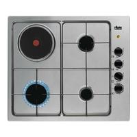 3 feux gaz dt 1x 3 kW + 1 plaque-Allumage 1 main-Cdes latérales-Inox