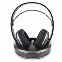 NEDIS HPRF210BK Casque sans Fil, Fréquence Radio (RF), Tour d'oreille, Embase de Chargement, Noir/Argent