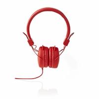 NEDIS HPWD1100RD Écouteurs filaires, Enveloppant, Pliable, Câble Rond DE 1.2 m, Touche Rouge