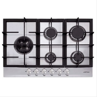 5 feux gaz dont un Dual 4,5 kW-All 1 main-T.couple-Grilles fonte-L 75 cm - Inox