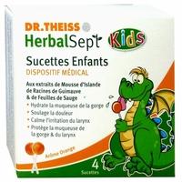 4 sucettes ORANGE Kids Dr. THEISS HerbalSept, le dispositif médical - Soulage les maux de gorge.