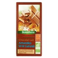 Chocolat lait amandes sel de guerande BIO 100 G Chocolats en Tablettes