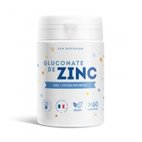 Gluconate de zinc - 15 mg - 60 comprimés (150% des ajr)