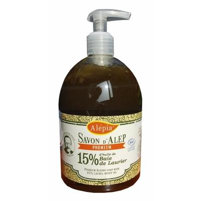 savon d'alep liquide premium 15% laurier 500ml