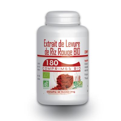 Extrait de Levure de Riz Rouge Bio e 1,6 % de monacoline 600 mg 180 comprimes