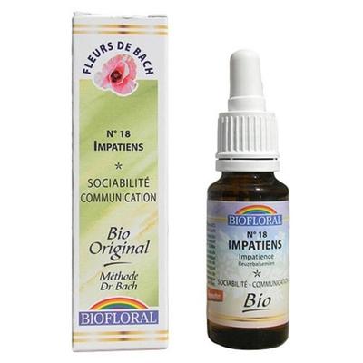 Biofloral - Impatience (Impatiens) Bio - 20 ml - Elixirs Floraux du Docteur Bach