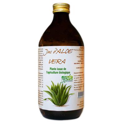 100% Pur Jus Aloe Vera bio (flacon verre ambré) Pur 500ml