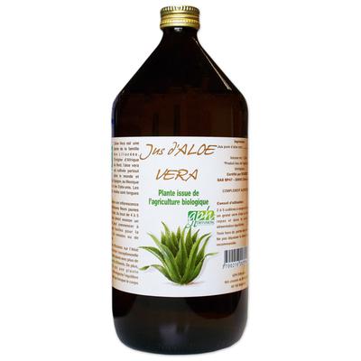 100% Pur Jus Aloe Vera bio (flacon verre ambré) Pur 1 Litre