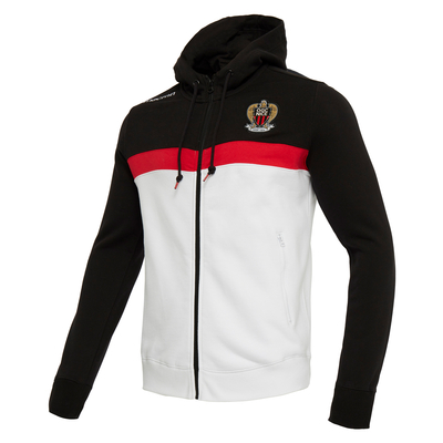 SWEAT ZIP CAPUCHE NOIR BLANC 2018/19