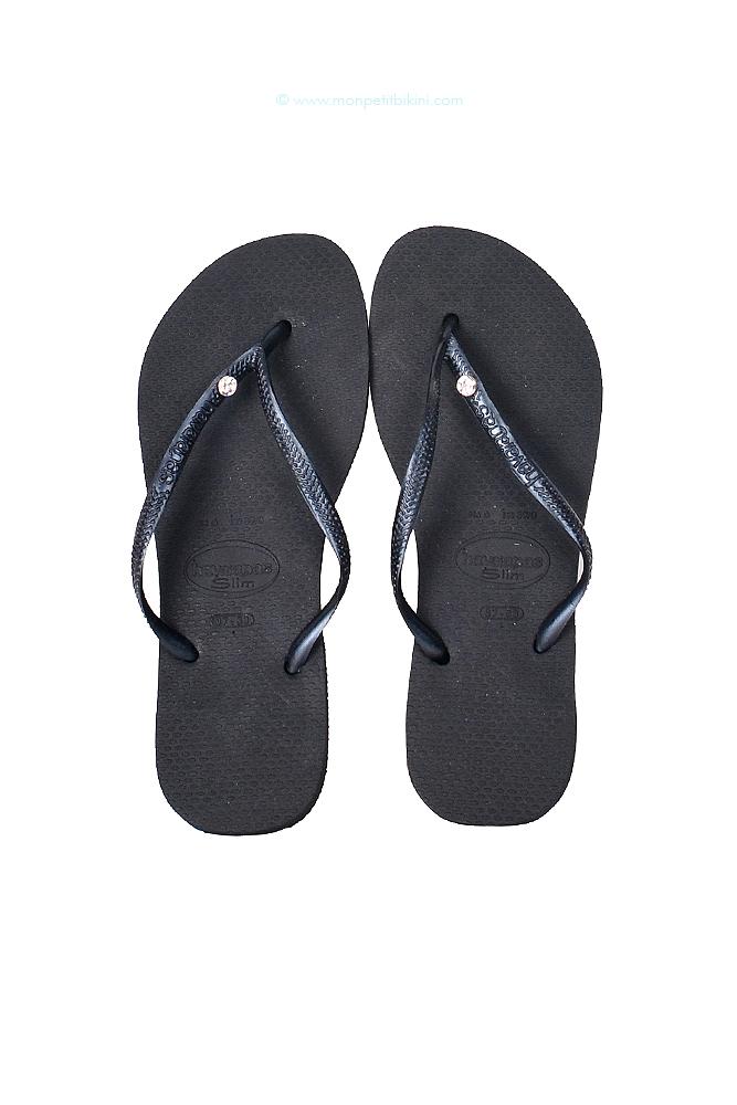 Havaianas - Flip-Flops in Schwarz, Slim mit Swarovski Kristallen