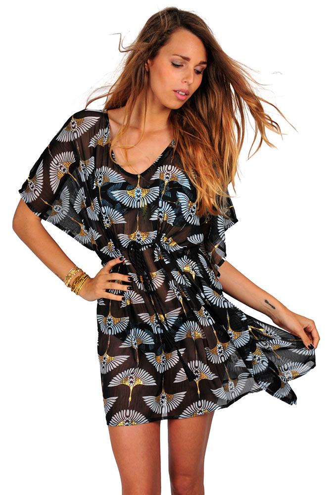beachwear hipanema kollektion 2016 strand kleid tunika izis schwarz. Black Bedroom Furniture Sets. Home Design Ideas