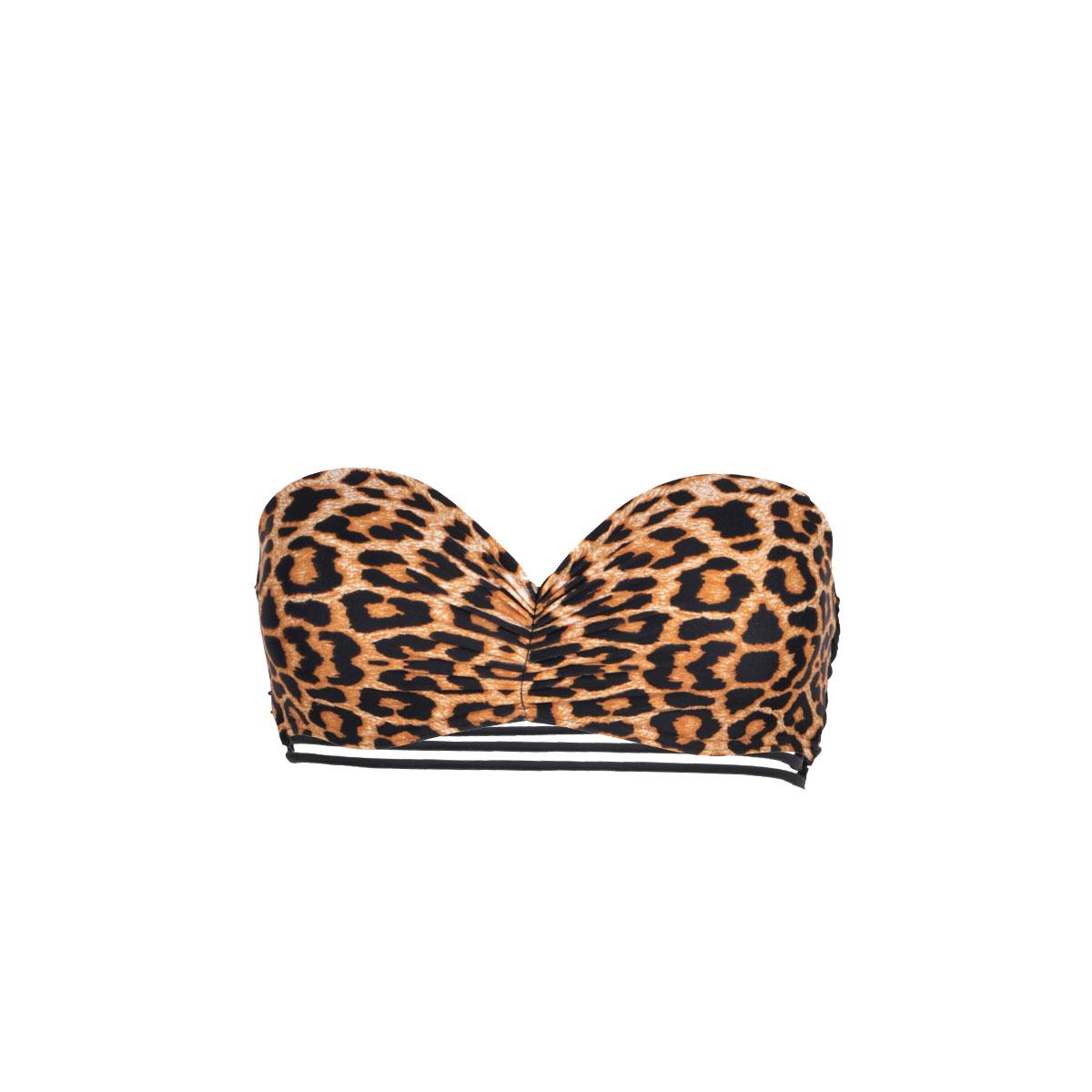 Mon Teenie Bandeau Bikini Leopard, schwarz (Oberteil)