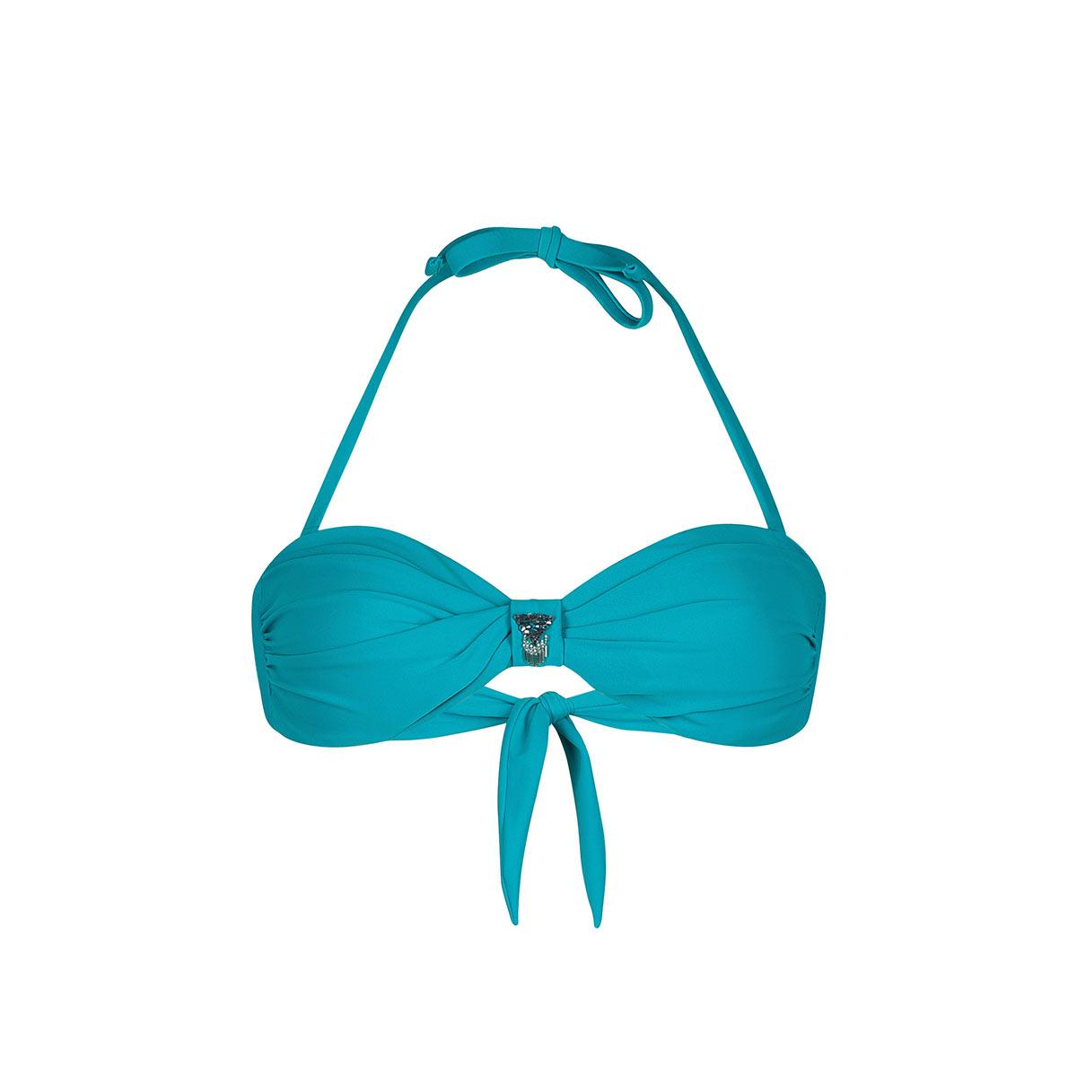 Bandeau-Bikini Uniswim, türkisblau (Oberteil)